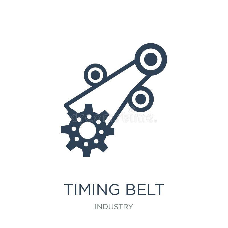 het pictogram van de timingsriem in in ontwerpstijl het pictogram van de timingsriem op witte achtergrond wordt geïsoleerd die he royalty-vrije illustratie