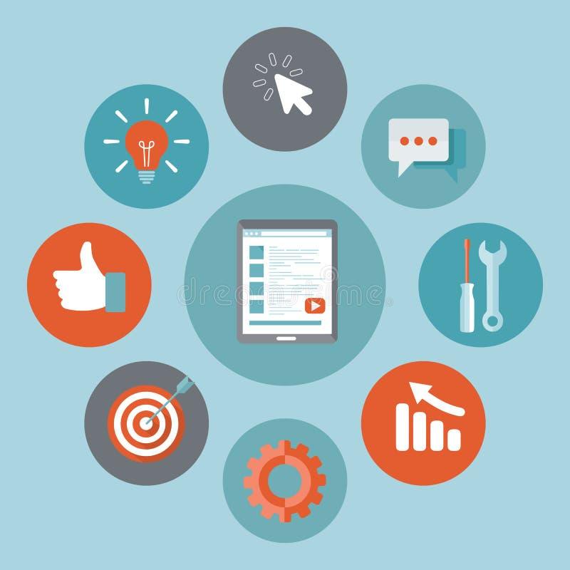 Het pictogram van de toepassingsontwikkeling Concept aan de bouw van succesvolle zaken Tablet met app ontwikkelingspictogrammen vector illustratie
