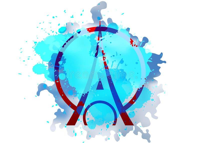 Het pictogram van het de Torenembleem van Eiffel, minimalistische stijl Symbool het Frans, Parijs, vakantie, reisreis Zwarte silh stock illustratie