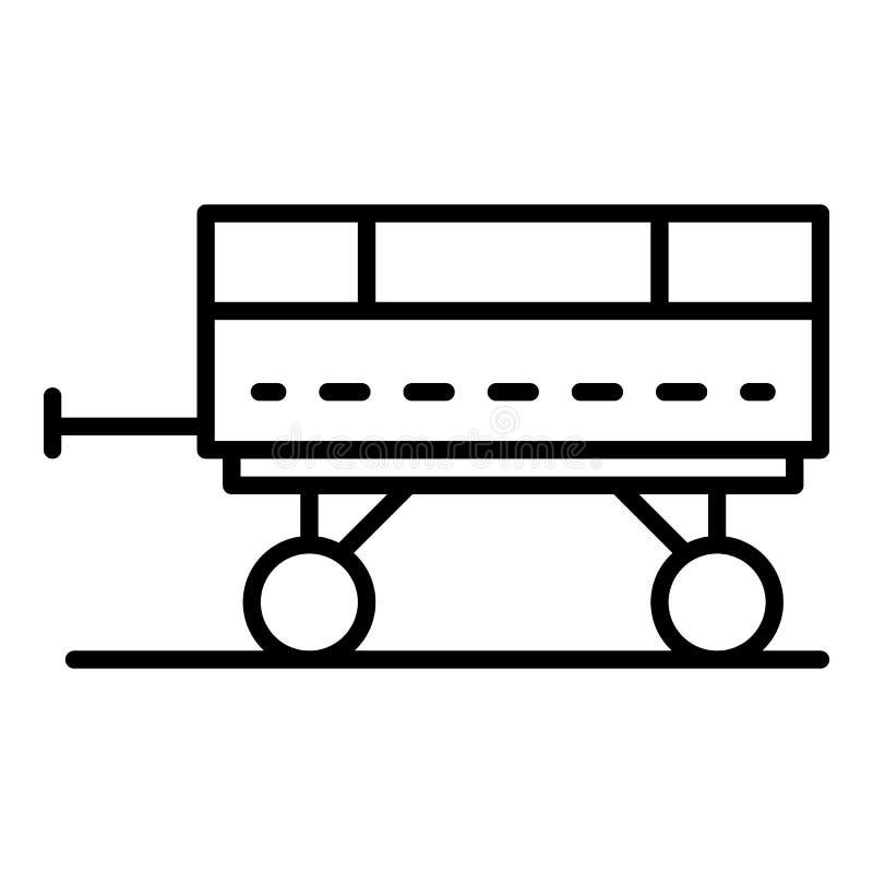Het pictogram van de tractoraanhangwagen, overzichtsstijl royalty-vrije illustratie