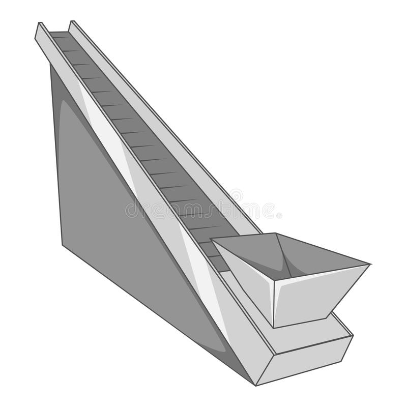 Het pictogram van de transportbandmachine, grijze zwart-wit stijl stock illustratie