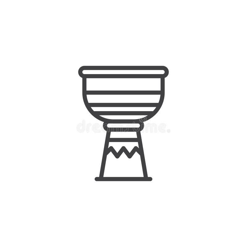 Het pictogram van de trommel tam tam lijn vector illustratie