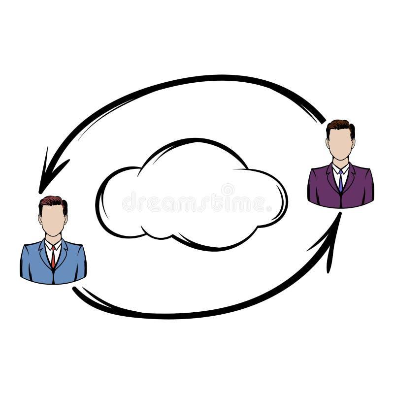 Het pictogram van de twee mensenuitwisseling van informatie royalty-vrije illustratie