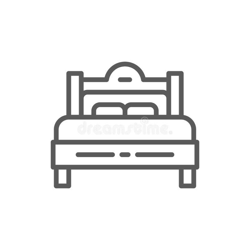 Het pictogram van de tweepersoonsbedlijn royalty-vrije illustratie