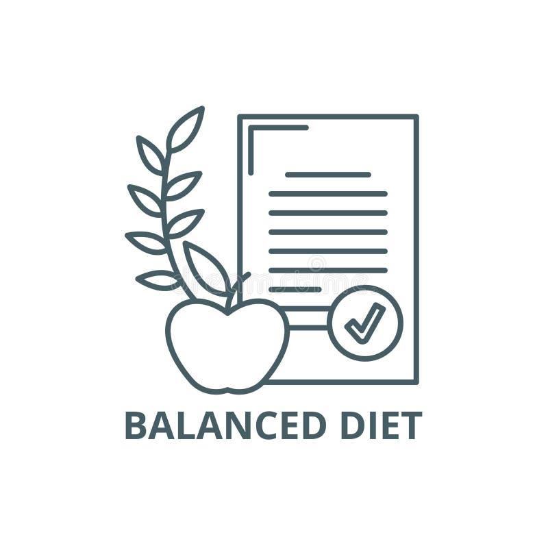 Het pictogram van de uitgebalanceerd dieetlijn, vector Het teken van het uitgebalanceerd dieetoverzicht, conceptensymbool, vlakke royalty-vrije illustratie