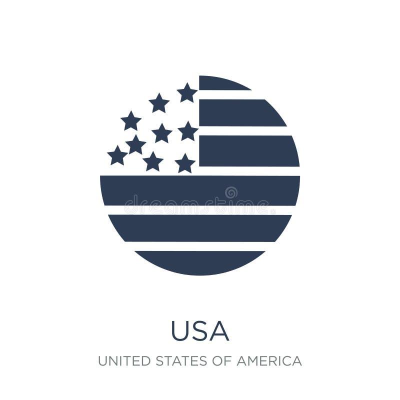 Het pictogram van de V.S. Het in vlakke vectorpictogram van de V.S. op witte achtergrond van U royalty-vrije illustratie