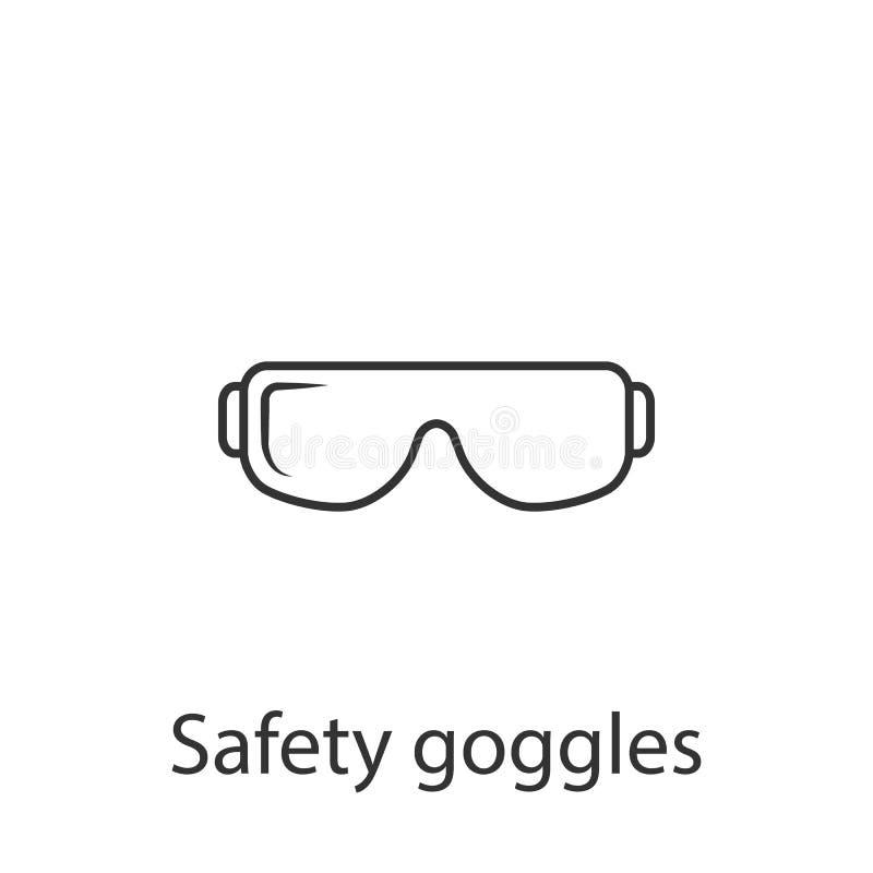 Het pictogram van de veiligheidsbril Eenvoudige elementenillustratie Het symboolontwerp van de veiligheidsbril van de reeks van d stock illustratie