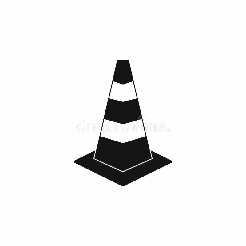 Het pictogram van de verkeerskegel, eenvoudige stijl stock illustratie