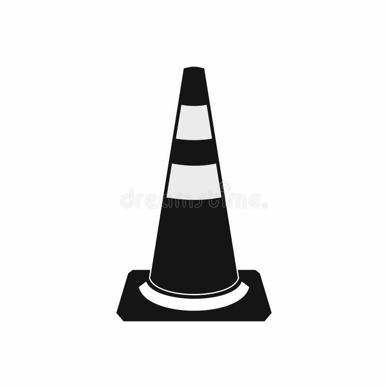 Het pictogram van de verkeerskegel, eenvoudige stijl vector illustratie