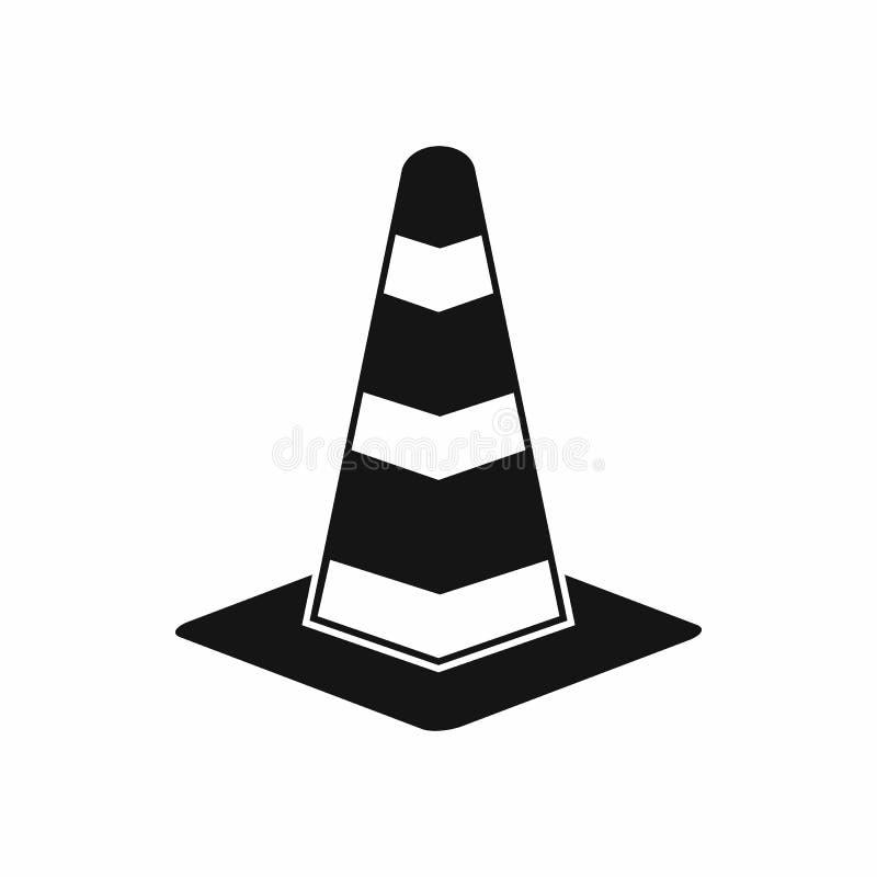 Het pictogram van de verkeerskegel, eenvoudige stijl royalty-vrije illustratie