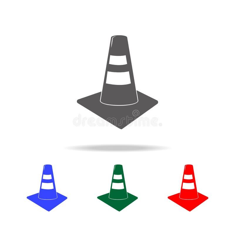 Het pictogram van de verkeerskegel Elementen van brandbestrijders multi gekleurde pictogrammen Grafisch het ontwerppictogram van  stock illustratie