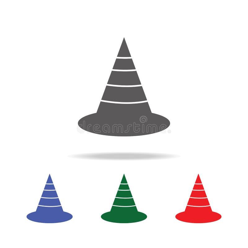 Het pictogram van de verkeerskegel Elementen van de multi gekleurde pictogrammen van bouwhulpmiddelen Grafisch het ontwerppictogr royalty-vrije illustratie