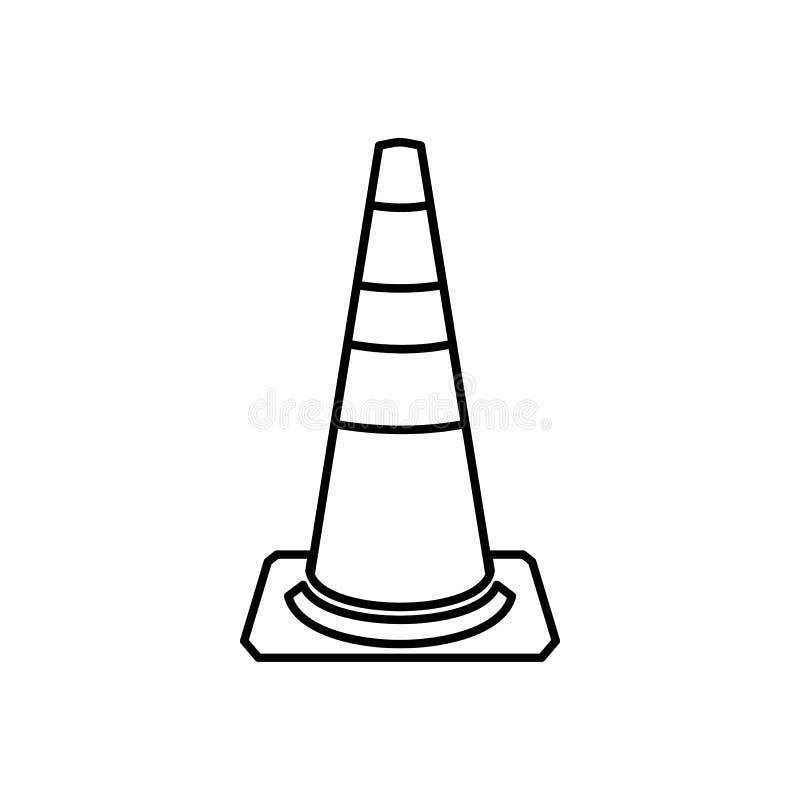 Het pictogram van de verkeerskegel, overzichtsstijl vector illustratie