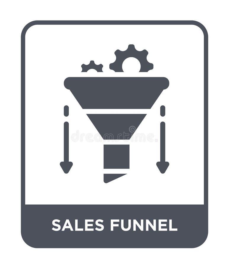 het pictogram van de verkooptrechter in in ontwerpstijl het pictogram van de verkooptrechter op witte achtergrond wordt geïsoleer stock illustratie