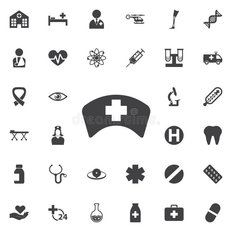Het pictogram van de verpleegstershoed stock afbeeldingen