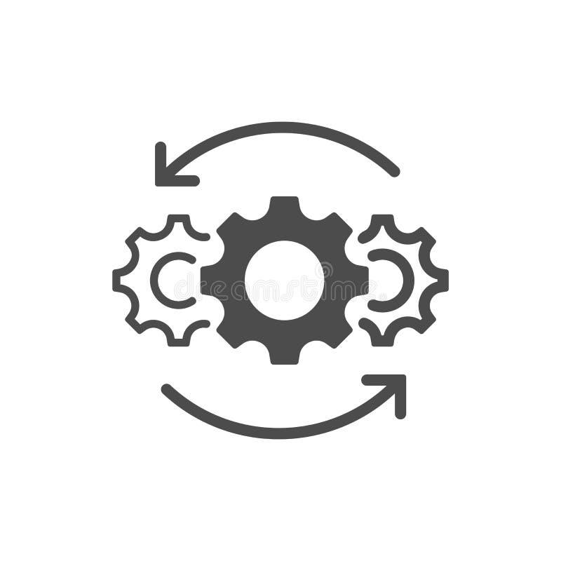 Het pictogram van de verrichtingenlijn op witte achtergrond wordt geïsoleerd die Vector illustratie stock illustratie