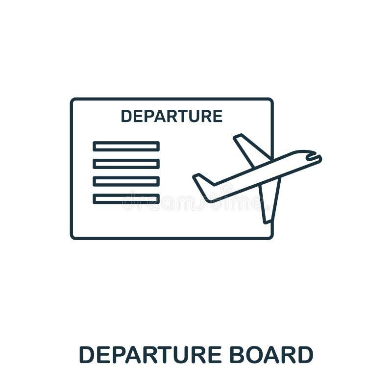 Het pictogram van de vertrekraad Stijl van de overzichts de dunne lijn van de inzameling van luchthavenpictogrammen De Raadspicto vector illustratie