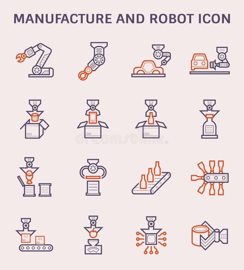 Het pictogram van de vervaardigingsrobot vector illustratie