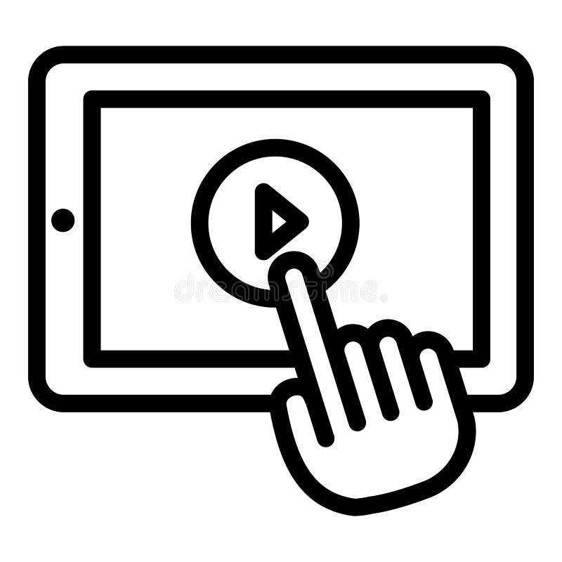 Het pictogram van de videocliptablet, overzichtsstijl royalty-vrije illustratie