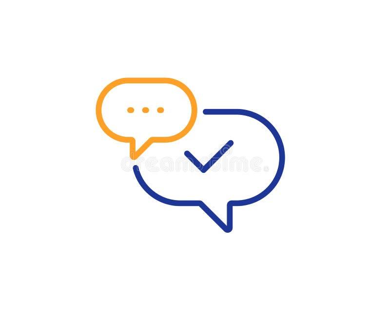 Het pictogram van de vinkjelijn Goedgekeurd teken Het praatje van de toespraakbel Vector royalty-vrije illustratie