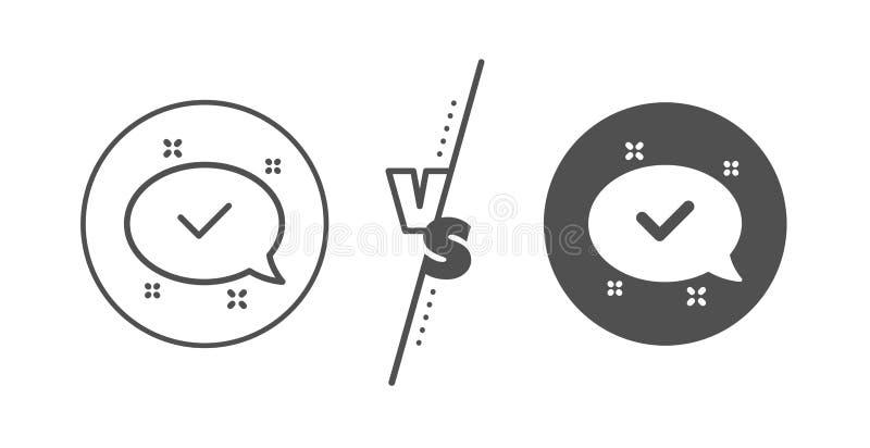 Het pictogram van de vinkjelijn Goedgekeurd teken Het praatje van de toespraakbel Vector stock illustratie