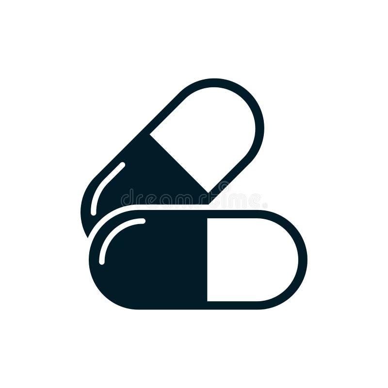 Het pictogram van de vitaminecapsule stock illustratie