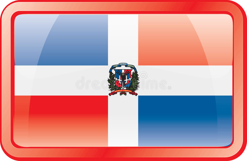 Het Pictogram van de Vlag van de Dominicaanse Republiek stock illustratie
