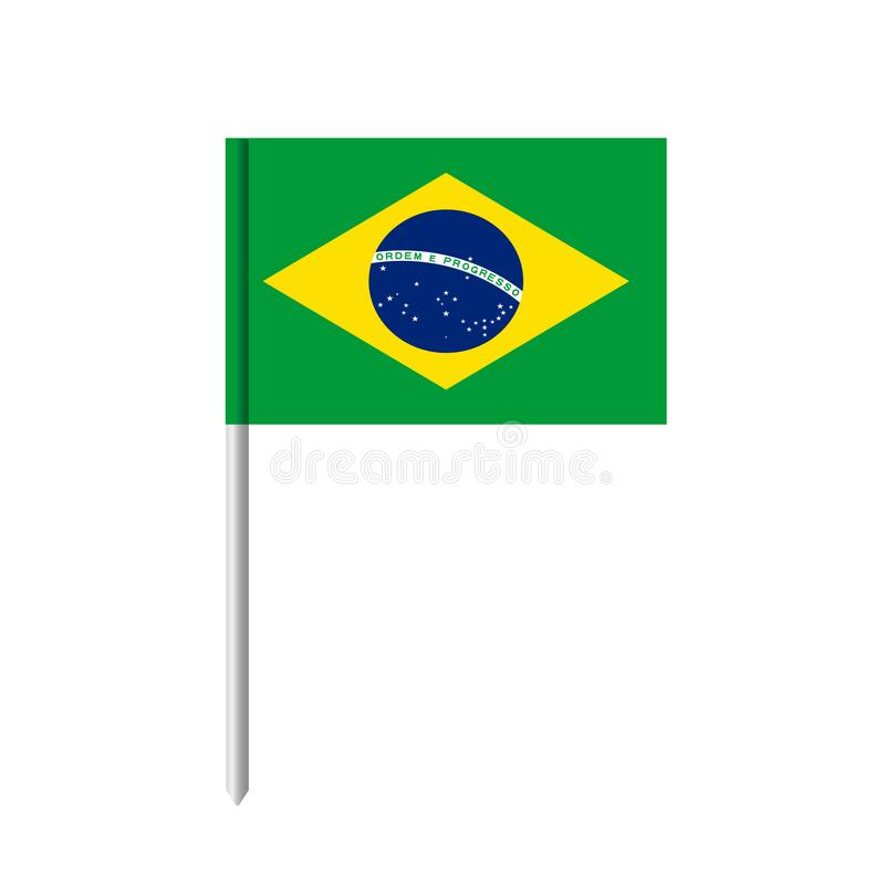 Het pictogram van de de vlagtandenstoker van Brazilië De vlag van Brazilië met geïsoleerde pool royalty-vrije illustratie