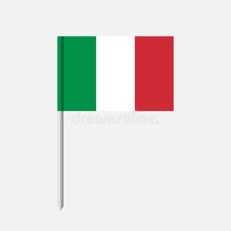 Het pictogram van de de vlagtandenstoker van Italië De vlag van Italië met geïsoleerde pool royalty-vrije illustratie