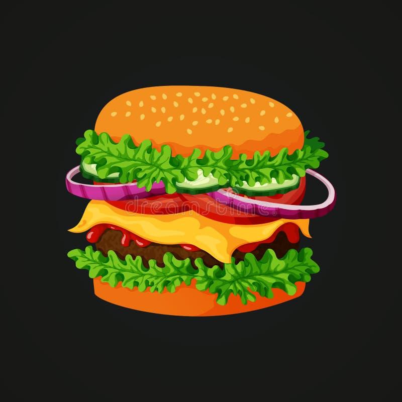Het pictogram van de vleeshamburger Het vleespasteitje, sesam bedekte broodje, sla, komkommers, rode uien, tomaten, kaas en ketch royalty-vrije illustratie
