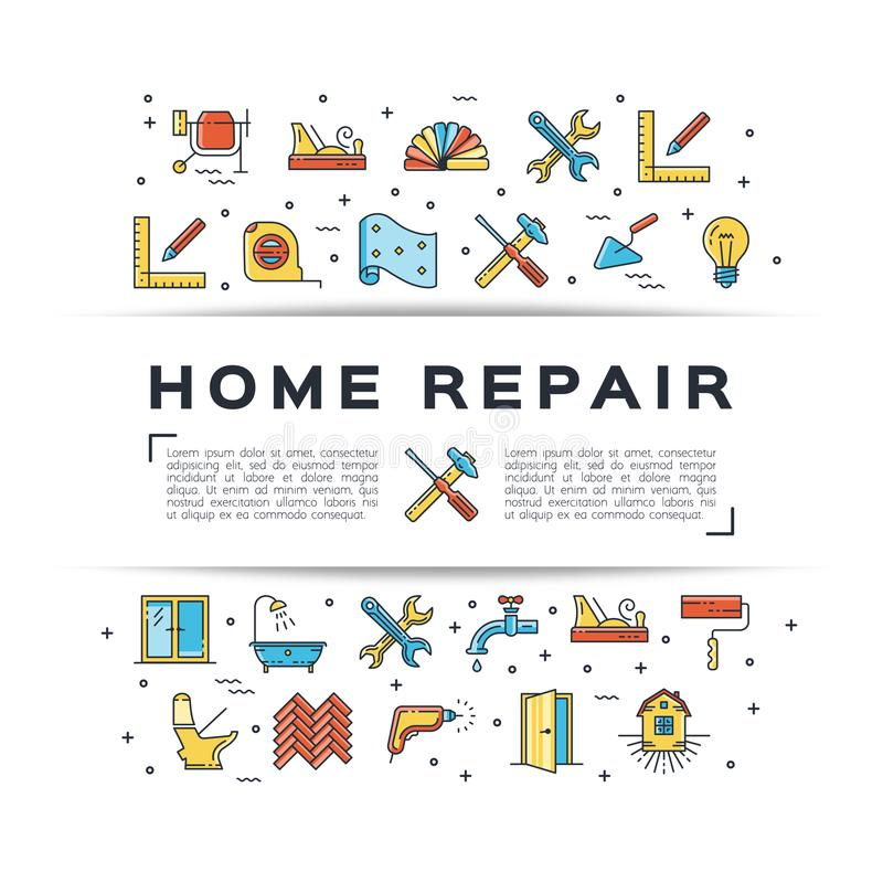 Het pictogram van de de vliegerbouw van de huisreparatie Het huis remodelleert de dunne pictogrammen van de lijnkunst Vector vlak stock illustratie