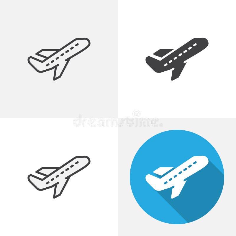 Het pictogram van de vliegtuigstart royalty-vrije illustratie