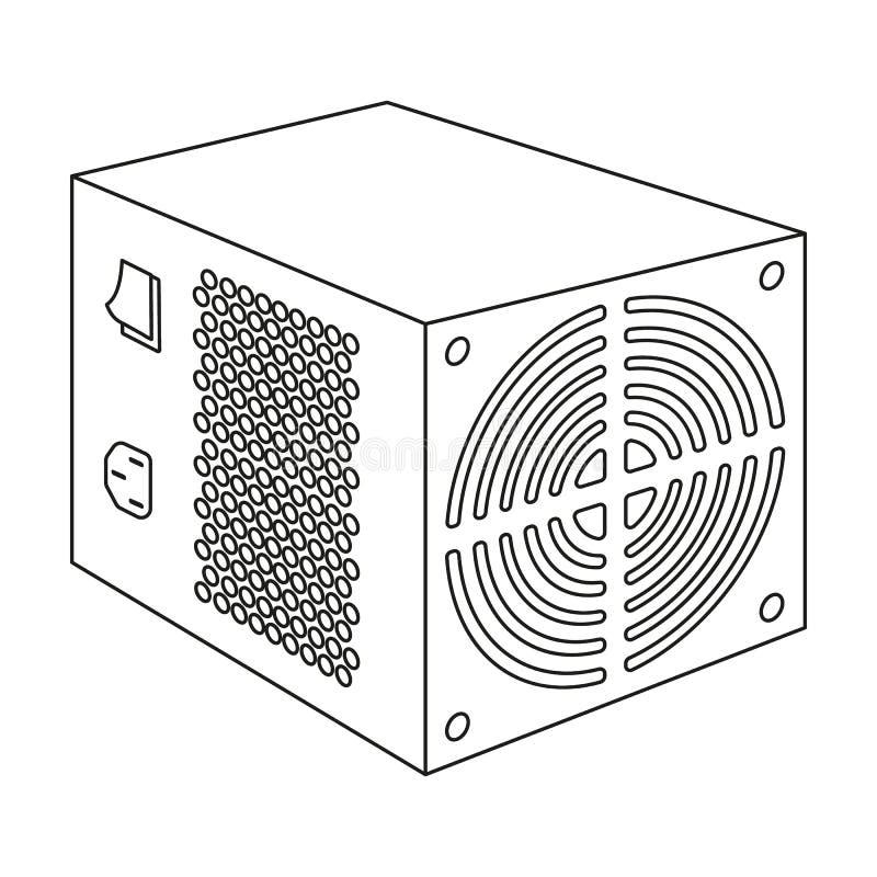 Het pictogram van de voedingeenheid in overzichtsstijl op witte achtergrond wordt geïsoleerd die De vector van de het symboolvoor royalty-vrije illustratie