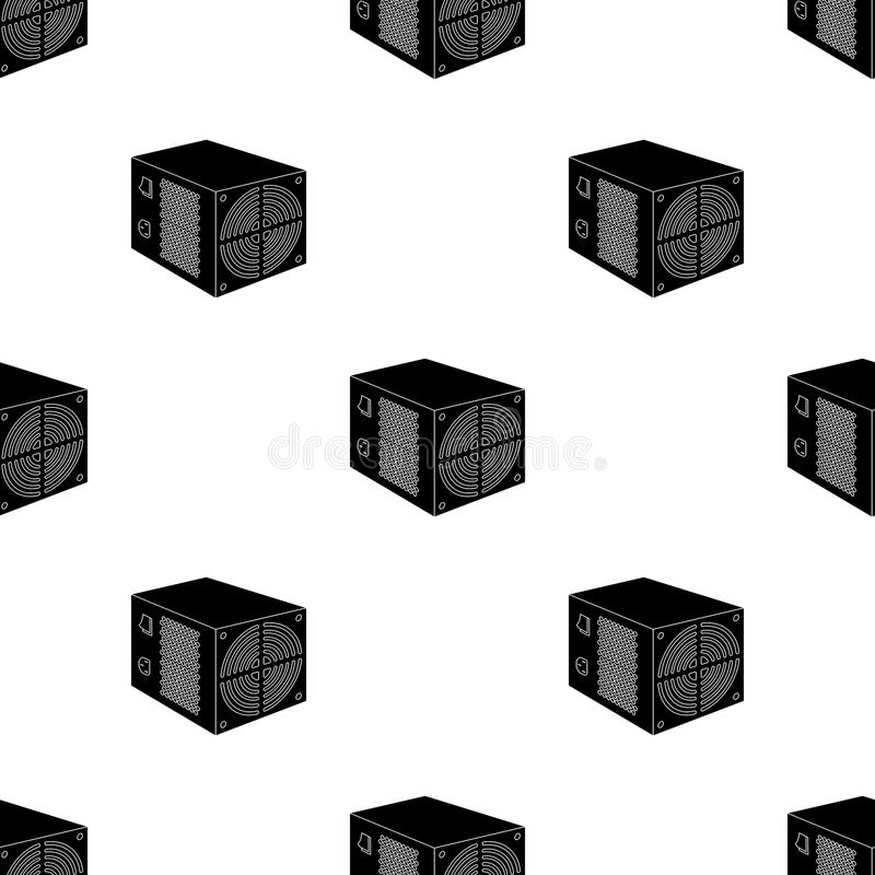 Het pictogram van de voedingeenheid in zwarte die stijl op witte achtergrond wordt geïsoleerd De vector van de het symboolvoorraa royalty-vrije illustratie