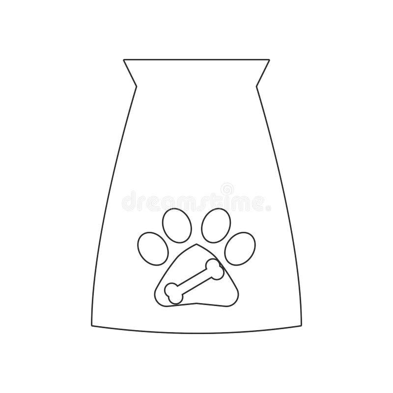 Het pictogram van de voedsel voor huisdierenzak Element van hond voor mobiel concept en webtoepassingenpictogram Overzicht, dun l stock illustratie