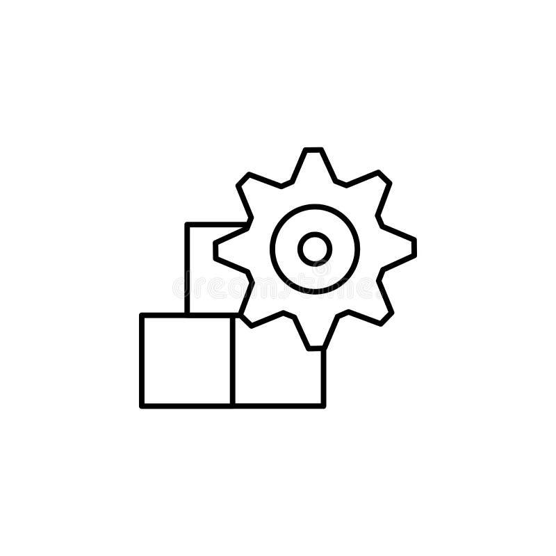 Het pictogram van de voedselverwerkende industrie Geautomatiseerde lijnbanketbakkerij Vectorillustratie in moderne stijl stock illustratie