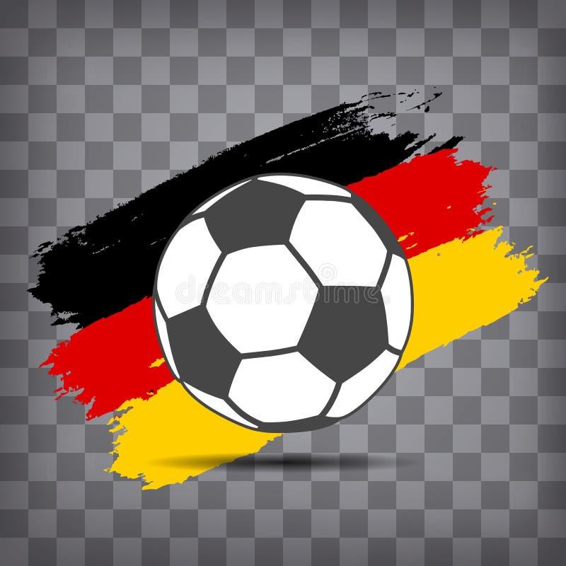 het pictogram van de voetbalbal op Duitse vlagachtergrond van borstelslagen stock illustratie