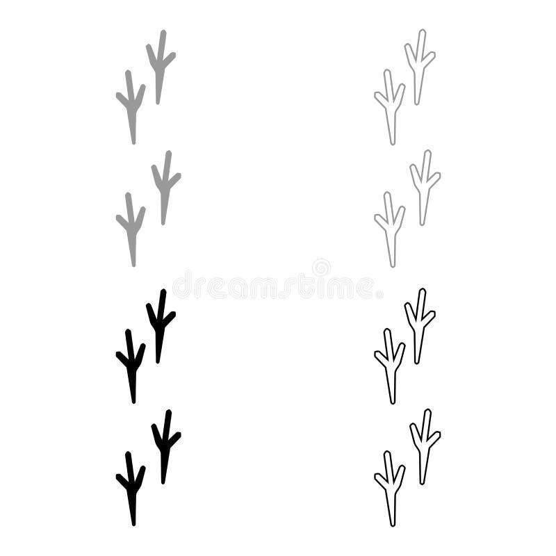 Het pictogram van de vogelvoetafdruk Illustratie grijze en zwarte kleur vector illustratie