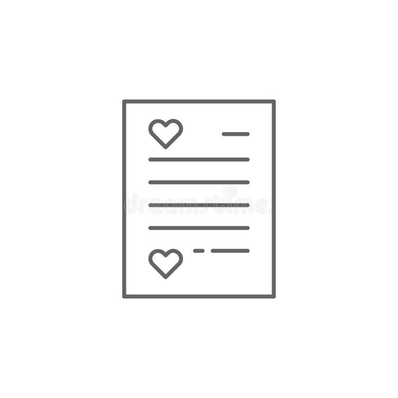 het pictogram van het de vriendschapsoverzicht van de liefdebrief Elementen van het pictogram van de vriendschapslijn De tekens,  stock illustratie