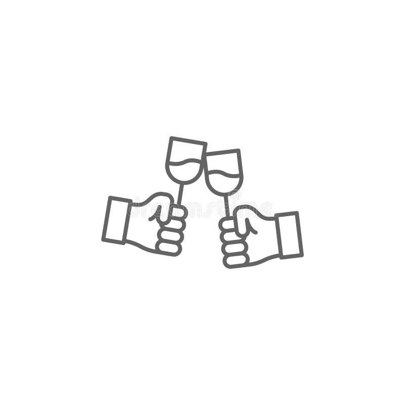 het pictogram van het de vriendschapsoverzicht van toosthanden Elementen van het pictogram van de vriendschapslijn De tekens, de  stock illustratie