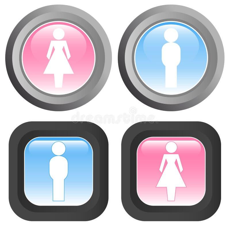 Het pictogram van de vrouw en man - vector stock illustratie