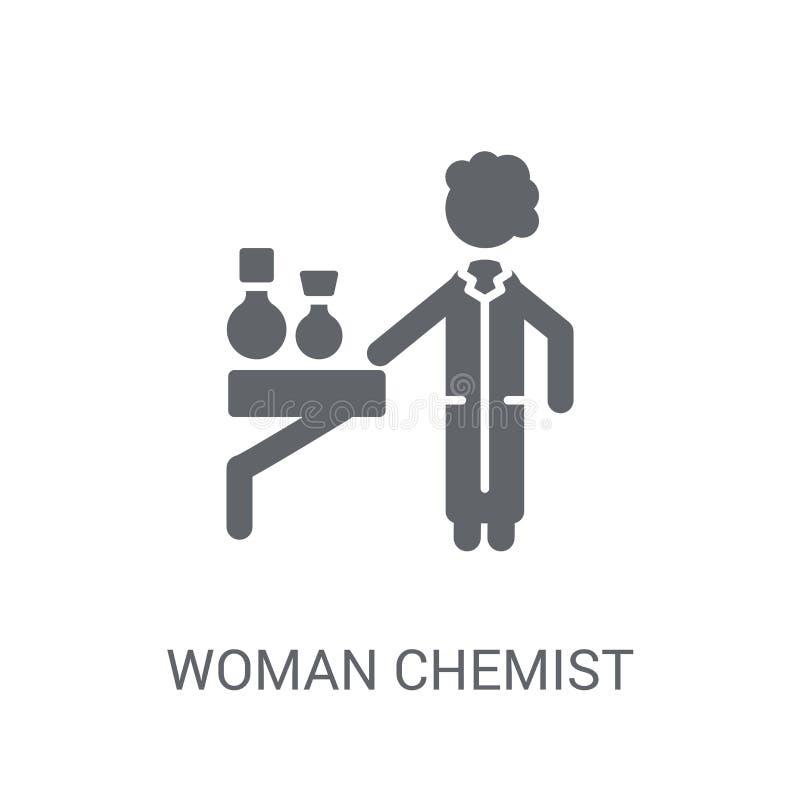 Het pictogram van de vrouwenchemicus In het embleemconcept van de Vrouwenchemicus op witte B royalty-vrije illustratie