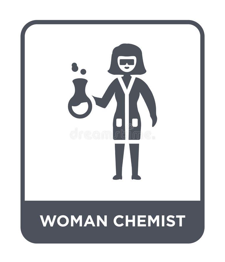 het pictogram van de vrouwenchemicus in in ontwerpstijl het pictogram van de vrouwenchemicus op witte achtergrond wordt geïsoleer stock illustratie