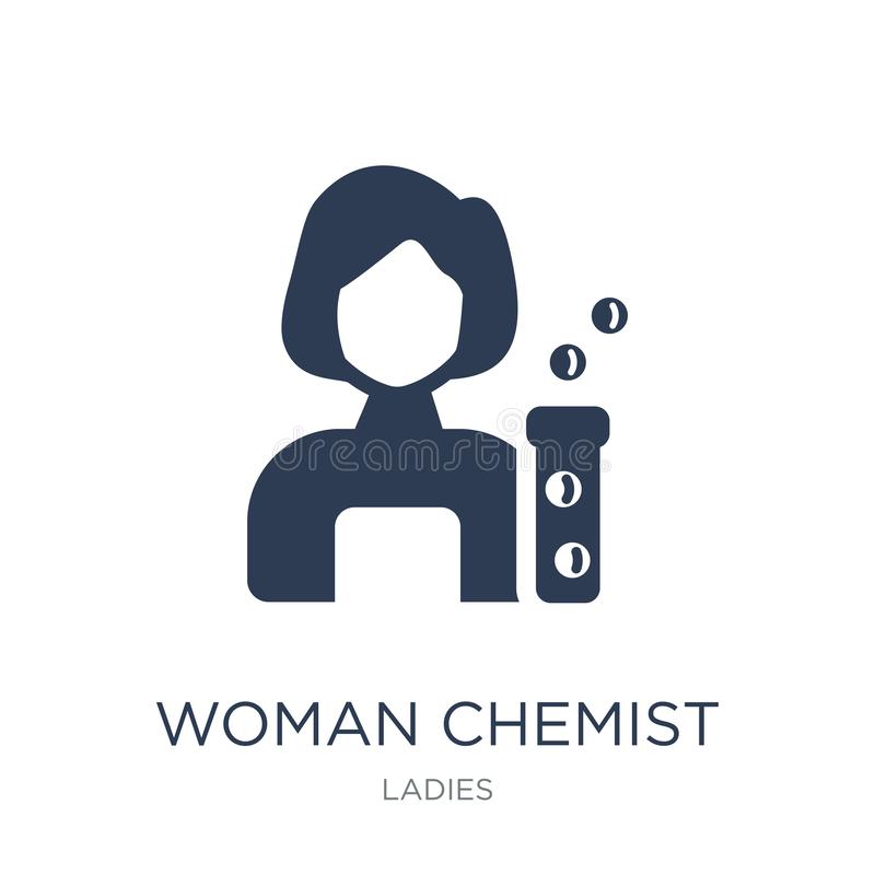 Het pictogram van de vrouwenchemicus Het in vlakke vectorpictogram van de Vrouwenchemicus op whi royalty-vrije illustratie