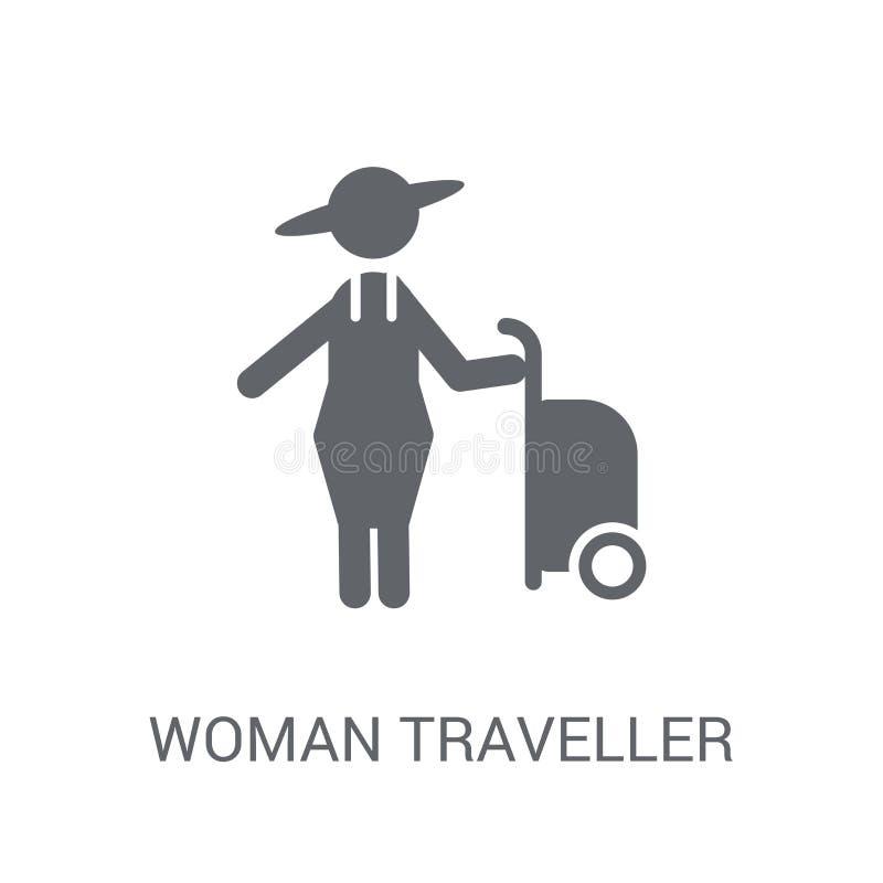 Het pictogram van de vrouwenreiziger In het embleemconcept van de Vrouwenreiziger op whi royalty-vrije illustratie