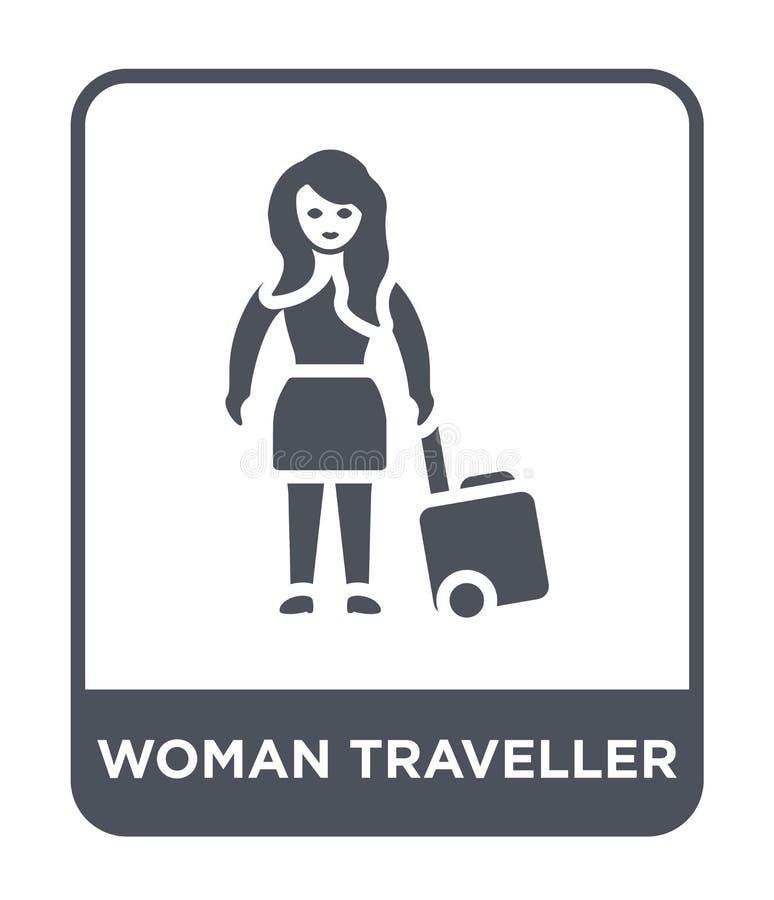 het pictogram van de vrouwenreiziger in in ontwerpstijl het pictogram van de vrouwenreiziger op witte achtergrond wordt geïsoleer royalty-vrije illustratie