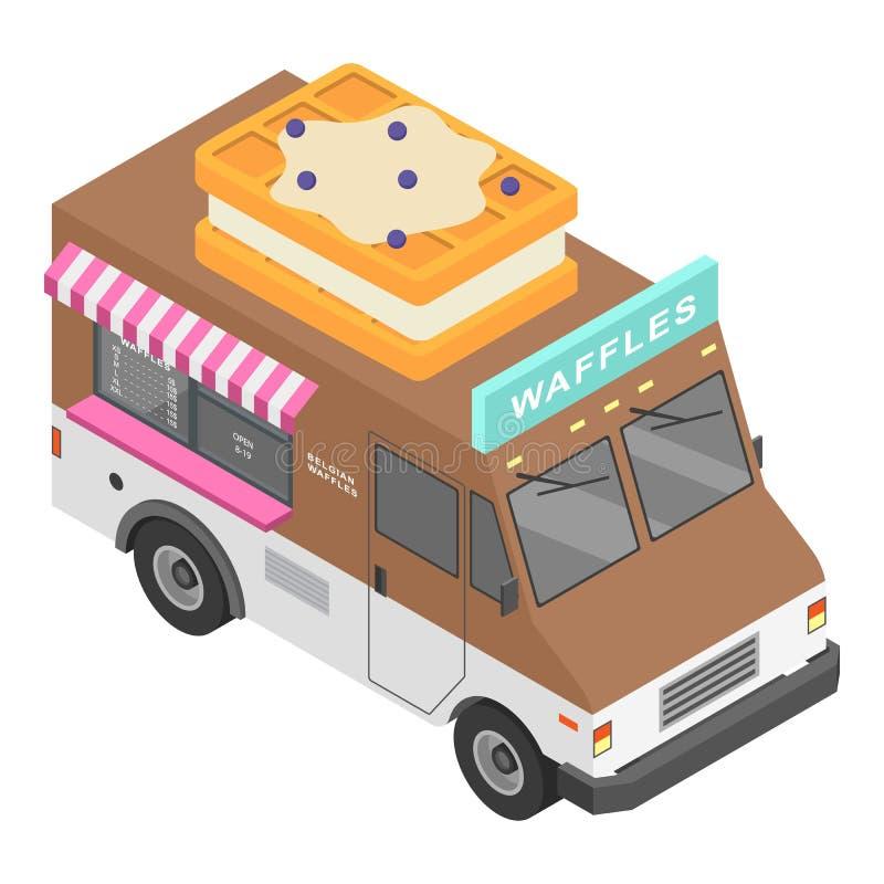 Het pictogram van de wafelsvrachtwagen, isometrische stijl stock illustratie