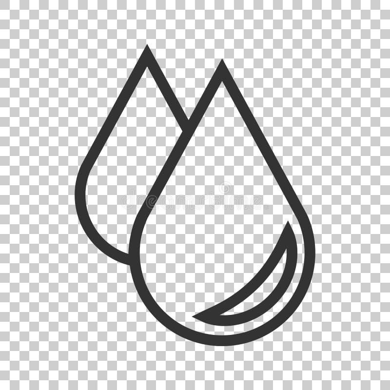 Het pictogram van de waterdaling in vlakke stijl Regendruppel vectorillustratie op I stock illustratie