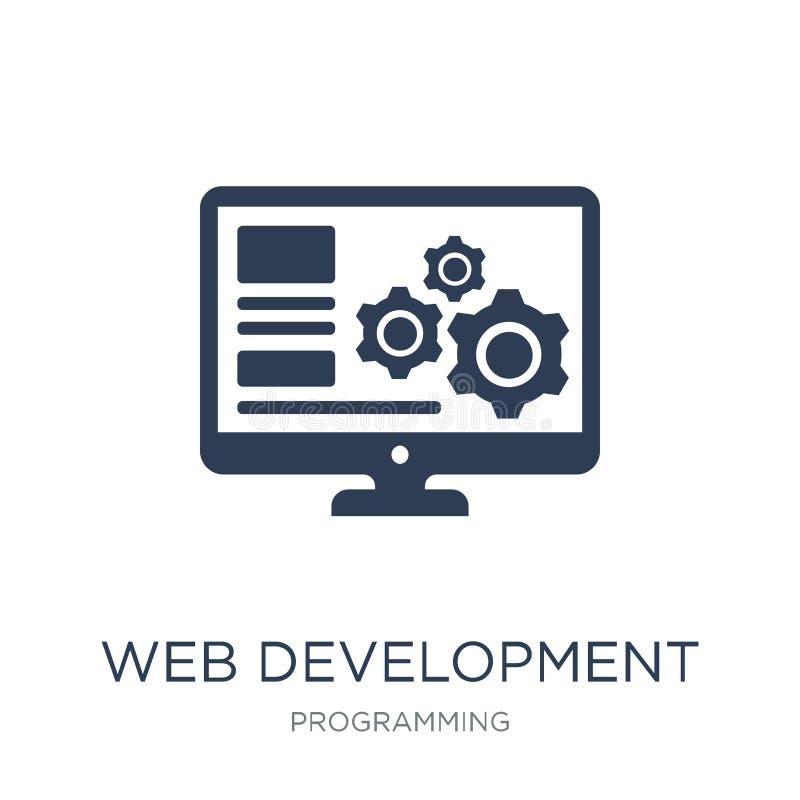 Het pictogram van de Webontwikkeling Het in vlakke vectorpictogram van de Webontwikkeling  vector illustratie