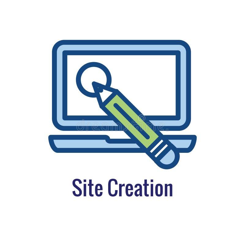 Het Pictogram van de websiteupdate - met de dunne beeldspraak van het lijnoverzicht royalty-vrije illustratie